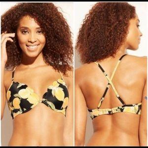 Shade & Shore,Black lemon bikini top.size 34DD.